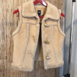 Faux Suede and Shearling Vest Sz M